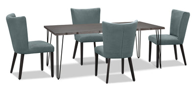 Living Edge 5-Piece Dining Package with Mady Chairs – Blue|Ensemble de salle à manger Living Edge 5 pièces avec chaises Mady – bleu|175OADP5