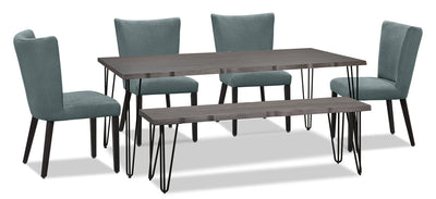 Living Edge 6-Piece Dining Package with Mady Chairs – Blue|Ensemble de salle à manger Living Edge 6 pièces avec chaises Mady – bleu|175OADP6