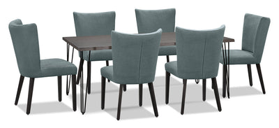 Living Edge 7-Piece Dining Package with Mady Chairs – Blue|Ensemble de salle à manger Living Edge7 pièces avec chaises Mady – bleu|175OADP7