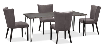 Living Edge 5-Piece Dining Package with Mady Chairs – Grey|Ensemble de salle à manger Living Edge 5 pièces avec chaises Mady - gris|175OCDP5