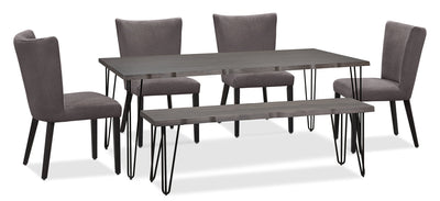 Living Edge 6-Piece Dining Package with Mady Chairs – Grey|Ensemble de salle à manger Living Edge 6 pièces avec chaises Mady - gris|175OCDP6