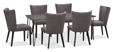 Living Edge 7-Piece Dining Package with Mady Chairs – Grey|Ensemble de salle à manger Living Edge7 pièces avec chaises Mady – gris|175OCDP7