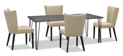 Living Edge 5-Piece Dining Package with Mady Chairs – Beige|Ensemble de salle à manger Living Edge 5 pièces avec chaises Mady – beige|175OTDP5