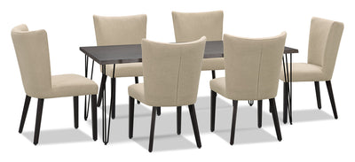 Living Edge 7-Piece Dining Package with Mady Chairs – Beige|Ensemble de salle à manger Living Edge 7 pièces avec chaises Mady – beige|175OTDP7
