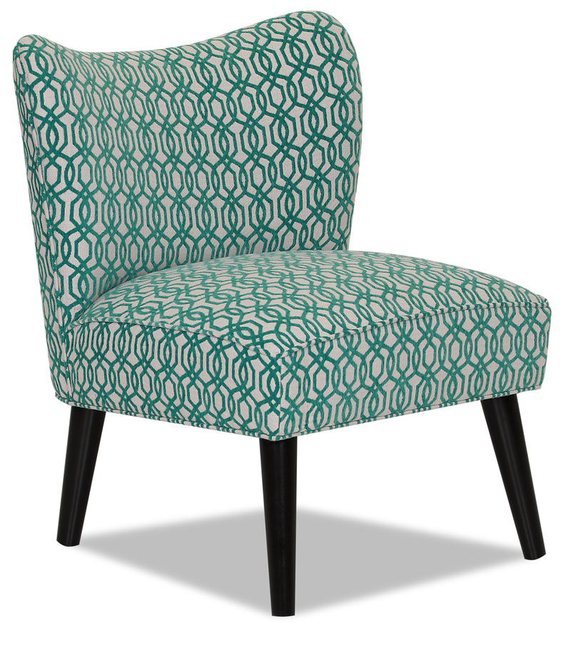 Designed2B Fabric Curved Back Low-Profile Accent Chair - Lagoon - {Retro}, {Modern} style Chair in Lagoon {Solid Hardwoods}