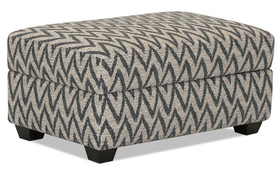 Designed2B Fabric Rectangular Storage Accent Ottoman - Ocean - {Contemporary} style Ottoman in Ocean {Solid Hardwoods}