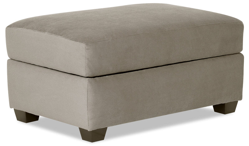 Designed2B Textured Polyester Rectangular Storage Accent Ottoman - Plush Ecru