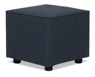 Designed2B Linen-Look Fabric Pod Accent Ottoman - Cabo Damask - {Contemporary} style Ottoman in Cabo Damask {Solid Hardwoods}