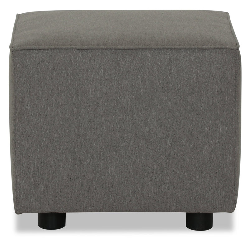 Designed2B Chenille Pod Accent Ottoman - Milo Charcoal - {Contemporary} style Ottoman in Milo Charcoal {Solid Hardwoods}