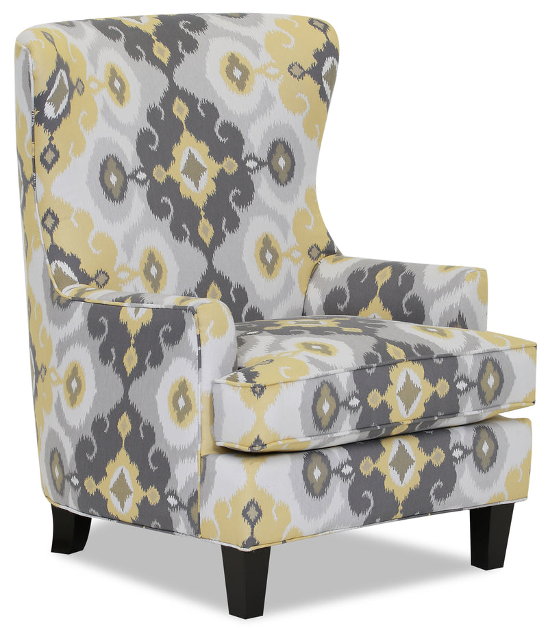 Designed2B Fabric Curved Wing Accent Chair - Butter - {Contemporary} style Chair in Butter {Solid Hardwoods}