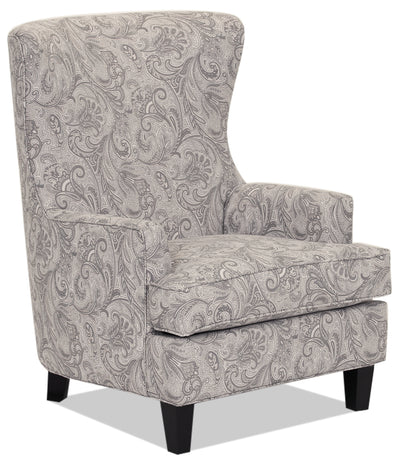 Designed2B Fabric Curved Wing Accent Chair - Dove - {Traditional} style Chair in Dove {Solid Hardwoods}