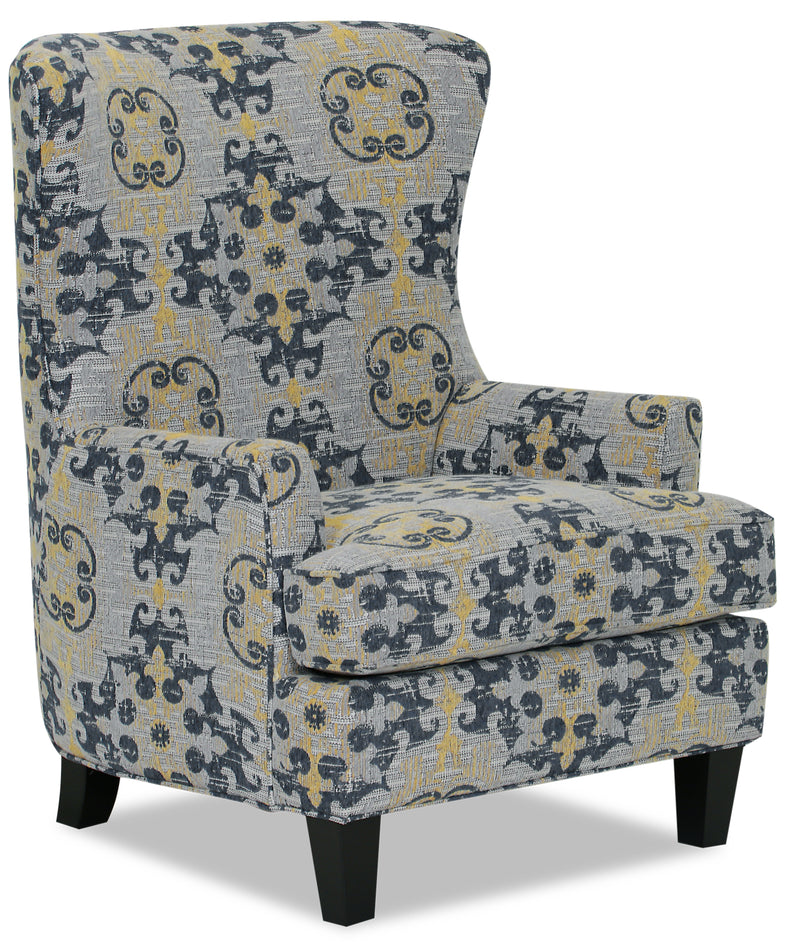 Designed2B Chenille Curved Wing Accent Chair - Lapis - {Traditional} style Chair in Lapis {Solid Hardwoods}