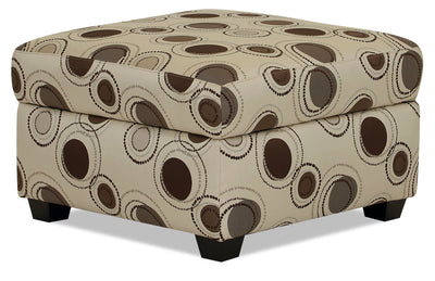 Designed2B Fabric Square Storage Accent Ottoman - Stone - {Contemporary} style Ottoman in Stone {Solid Hardwoods}