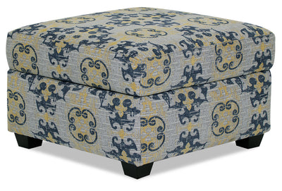 Designed2B Chenille Square Storage Accent Ottoman - Lapis - {Contemporary} style Ottoman in Lapis {Solid Hardwoods}