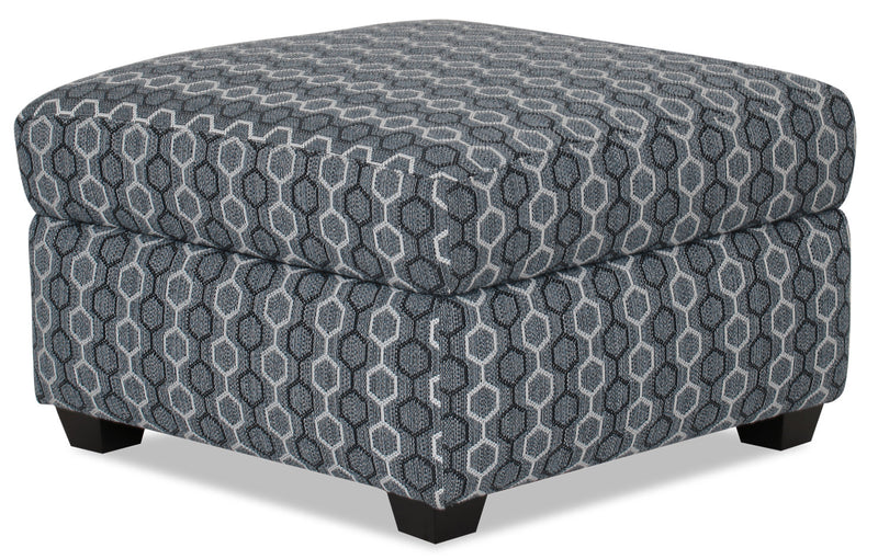 Designed2B Fabric Square Storage Accent Ottoman - Azure - {Contemporary} style Ottoman in Azure {Solid Hardwoods}