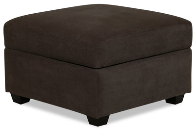 Designed2B Textured Polyester Square Storage Accent Ottoman - Plush Chocolate