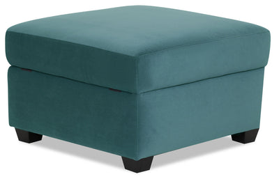 Designed2B Velvet Square Storage Accent Ottoman - Kira Sea - {Contemporary} style Ottoman in Kira Sea {Solid Hardwoods}