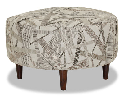 Designed2B Fabric Round Accent Ottoman - Earth - {Modern}, {Retro} style Ottoman in Earth {Solid Hardwoods}