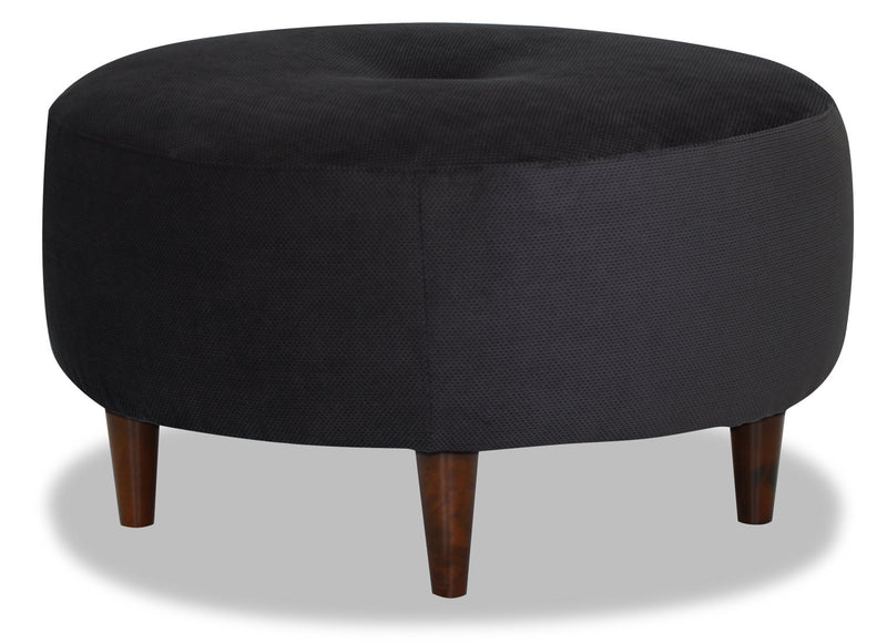 Designed2B Textured Polyester Round Accent Ottoman - Plush Navy