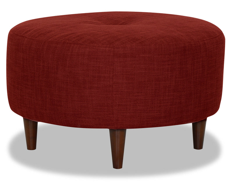 Designed2B Linen-Look Fabric Round Accent Ottoman - Cabo Crimson