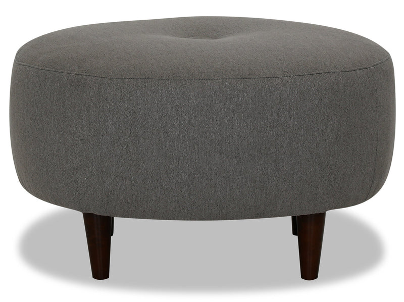 Designed2B Chenille Round Accent Ottoman - Milo Charcoal - {Modern}, {Retro} style Ottoman in Milo Charcoal {Solid Hardwoods}