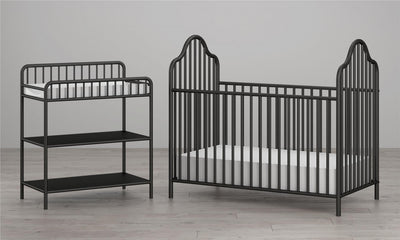Rowan Valley Lanley Metal Crib and Changing Table Set - Black  |  Ensemble lit de bébé et table à langer en métal Rowan Valley Lanley - noir   |  D25ADRQL