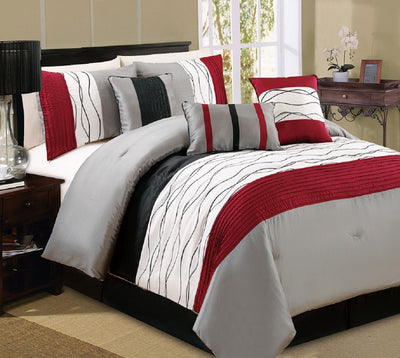 Chincha 7-Piece Queen Comforter Set - Red | Ensemble d'édredon Chincha 7 pièces pour grand lit – rouge | D2D9L0ZN
