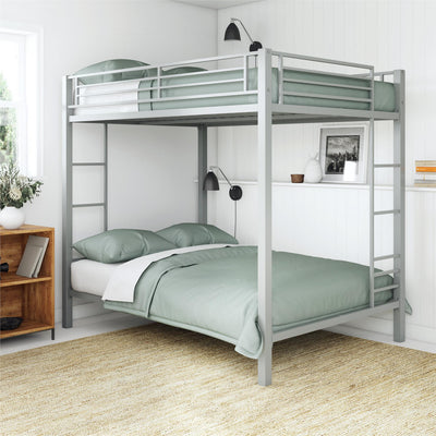 Parker Full Over Full Metal Bunk Bed, Silver Bunkbeds, Kids