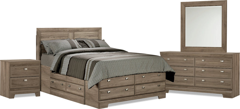 Yorkdale Light 6-Piece Full Storage Bedroom Package