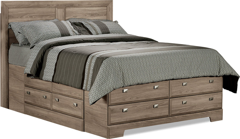 Yorkdale Light Queen Storage Bed - Contemporary style Bed in Glad Birch Engineered Wood and Laminate Veneers