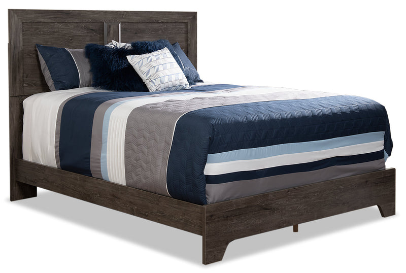 Yorkdale Grey Queen Panel Bed - {Contemporary} style Bed in Alabaster Oak {Engineered Wood}