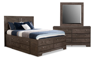 Yorkdale Grey 5-Piece Full Storage Bedroom Package - {Contemporary} style Bedroom Package in Alabaster Oak {Engineered Wood}