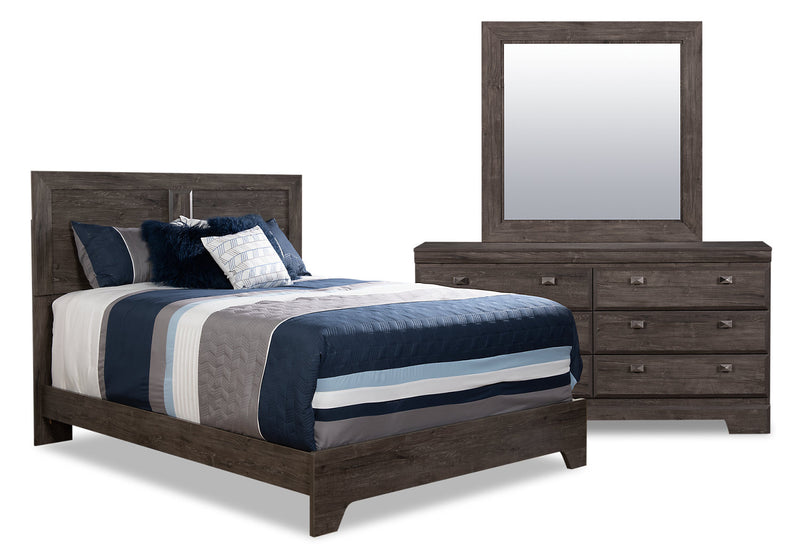 Yorkdale Grey 5-Piece Queen Panel Bedroom Package|Ensemble de chambre à coucher gris Yorkdale 5 pièces avec grand lit