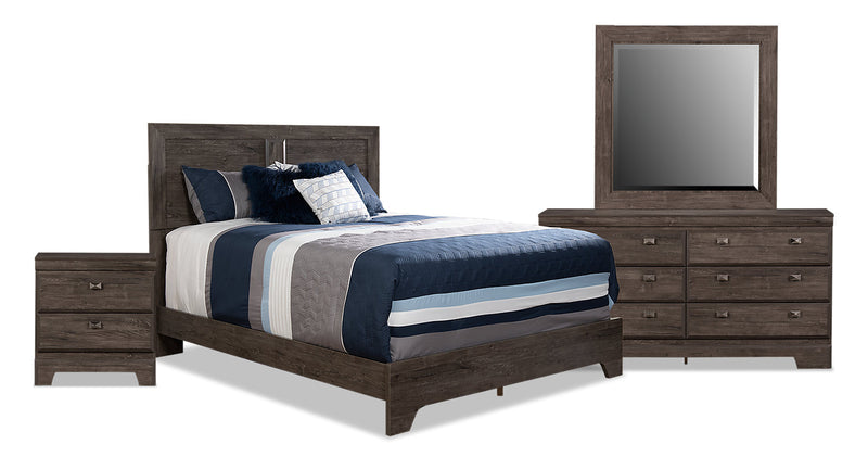 Yorkdale Grey 6-Piece Queen Panel Bedroom Package - {Contemporary} style Bedroom Package in Alabaster Oak {Engineered Wood}