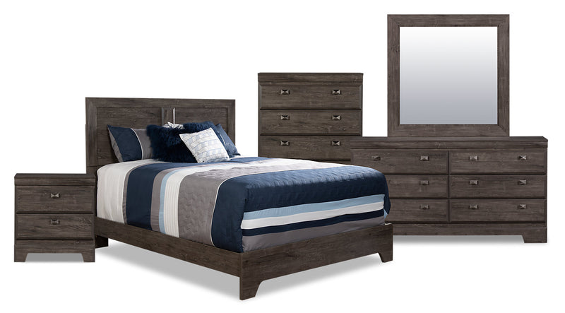 Yorkdale Grey 7-Piece Queen Panel Bedroom Package|Ensemble de chambre à coucher gris Yorkdale 7 pièces avec grand lit