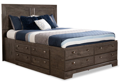 Yorkdale Grey Queen Storage Bed - {Contemporary} style Bed in Alabaster Oak {Engineered Wood}