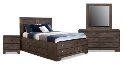 Yorkdale Grey 6-Piece Queen Storage Bedroom Package