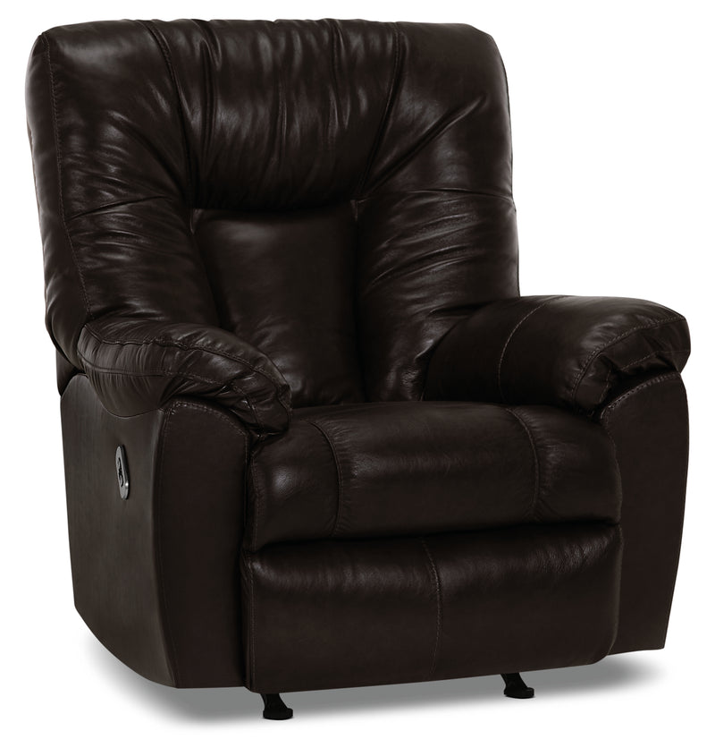 Designed2B 4703 Genuine Leather Power Rocker Recliner with USB Port - Black Bean