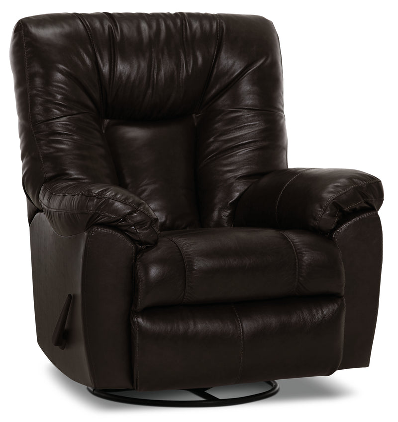 Designed2B 4703 Genuine Leather Swivel Rocker Recliner - Ranger Black Bean