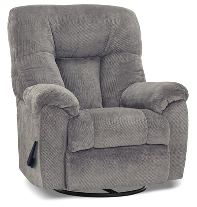 Designed2B 4703 Chenille Swivel Rocker Recliner - Earth Slate
