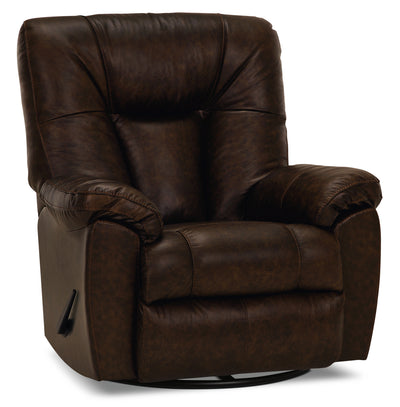 Designed2B 4703 Genuine Leather Swivel Rocker Recliner - Ranger Tobacco
