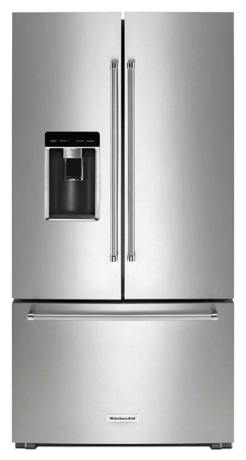 KitchenAid 23.8 Cu. Ft. French-Door Refrigerator – KRFC704FPS - Refrigerator with Exterior Water/Ice Dispenser, Ice Maker in Stainless Steel