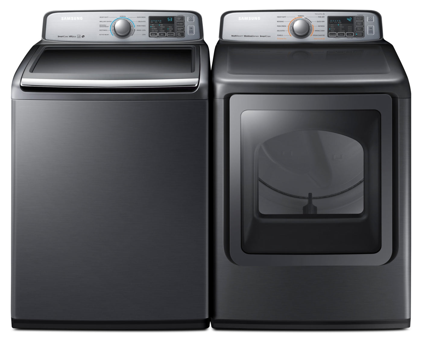 Samsung 5 8 Cu  Ft  Top-Load Washer and 7 4 Cu  Ft  Multi-Steam™ Electric  Dryer