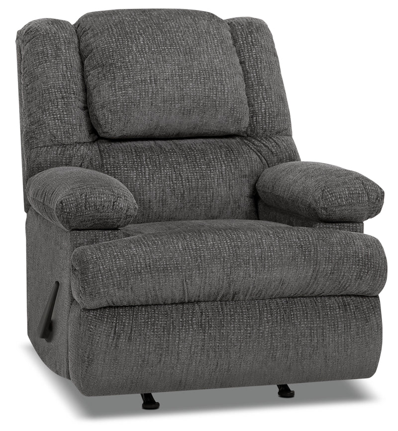 Designed2B 5598 Chenille Rocker Recliner with Storage Arms - Atlantic Graphite|Fauteuil berçant inclinable 5598 Design à mon image en chenille avec accoudoirs rangement - graphite