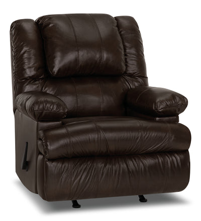 Designed2B 5598 Genuine Leather Rocker Recliner with Storage Arms - Columbus Chocolate