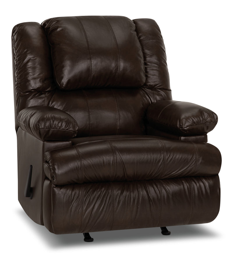 Designed2B 5598 Genuine Leather Rocker Recliner with Storage Arms - Columbus Chocolate|Fauteuil berçant inclinable 5598 Design à mon image cuir véritable accoudoirs rangement - chocolat