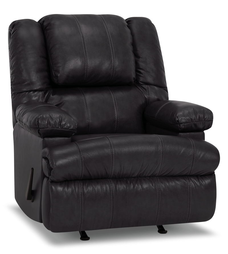 Designed2B 5598 Genuine Leather Rocker Recliner with Storage Arms - Weston Granite|Fauteuil berçant inclinable 5598 Design à mon image cuir véritable, accoudoirs rangement - granite