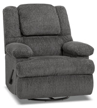 Designed2B 5598 Chenille Swivel Recliner with Storage Arms - Atlantic Graphite