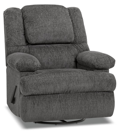 Designed2B 5598 Chenille Swivel Recliner with Storage Arms - Atlantic Graphite|Fauteuil pivotant inclinable 5598 Design à mon image en chenille accoudoirs rangement - graphite|5598SRAG