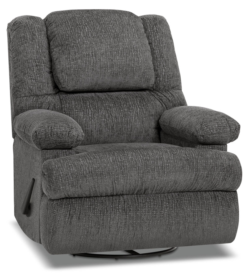 Designed2B 5598 Chenille Swivel Recliner with Storage Arms - Atlantic Graphite|Fauteuil pivotant inclinable 5598 Design à mon image en chenille accoudoirs rangement - graphite
